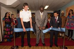 Bridgetown, Barbados :: Captain Samuel Hills (Germany), Barbadian Senator Harcourt Husbands and Director Pil-Hun Park (South Korea) cut the ribbon to open Logos Hope to the public.