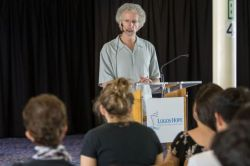 Bridgetown, Barbados :: The Christian author, Philip Yancey (USA) gives a seminar to crewmembers on board Logos Hope.