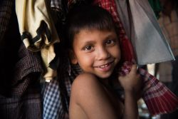 A Rohingya child in his tent. The refugees are in a camp near Coxs Bazar in Bangladesh. Refugees are fleeing what the United Nations are calling ethnic cleansing in Myanmar.