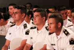 Cartagena, Colombia :: Naval personnel attend an event tailored for them on board Logos Hope.