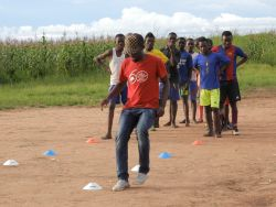 Team members go through soccer drills in Kasama, Zambia.