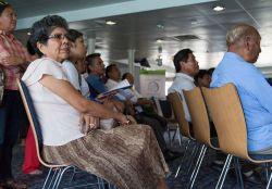 Veracruz, Mexico :: Visitors listen at an event on board Logos Hope.