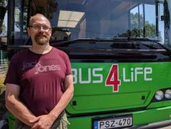 Teemu Laitinen serves as the Bus4Life driver.