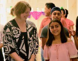Coatzacoalcos, Mexico :: Jessica de Jonge (Netherlands) talks with a young memeber of a local church.