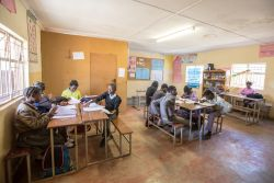 A typical school day at Makwati School in Kabwe, Zambia. The school provides Christ-centred education to the children in Makwati compound and is the only school in the compound.