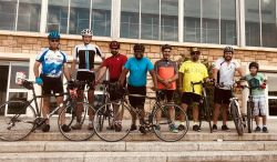 The Ride2Transform team had a few extra members on the first day, including Transform Director Mpumi Maweni in the blue shirt.