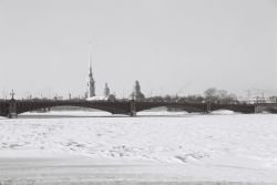 A bridge over the frozen River Neva - in the depths of the Russian winter.