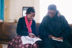Bible study during a discipleship program