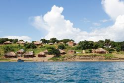 The view from around Crocodile Island on Lake Tanganyika, Zambia. The island is named for its shape. Photo by Rebecca Rempel.